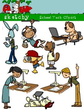 School Technology / Tech Clipart / Graphics 300dpi Color Grayscale Blacklined