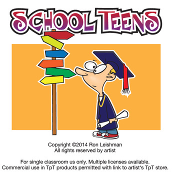 School Teens Cartoon Clipart