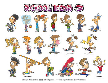 School Teens Cartoon Clipart Bundle Volumes 1-4 -Teens Clipart for ALL ages