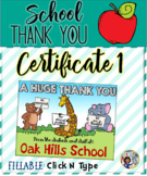 Thank You Certificates School 1 {Fillable)}
