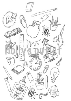School Theme Clipart for Worksheets, Papers or Booklets