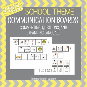 School Theme Communication Boards Freebie
