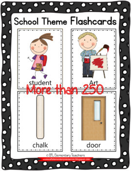 School Theme Flashcards for ELL