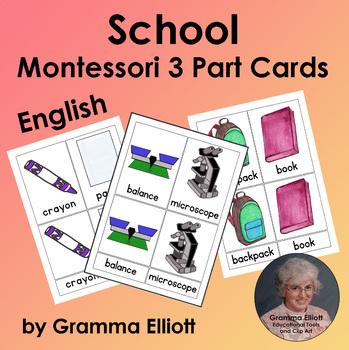 School Theme - Montessori - 3 Part Cards