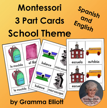 School Theme 3 Part Montessori Cards in Spanish and English