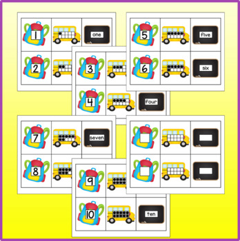 School Theme Number Cards - Numeral, 10-Frame, Number Name