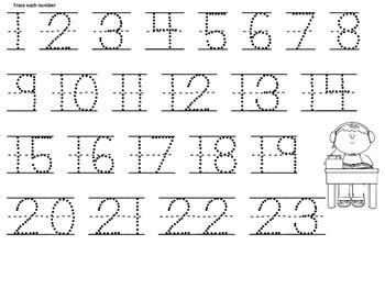 School Theme Pre-K and Kindergarten Numbers