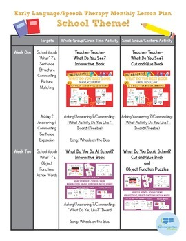 School Theme Preschool Language Monthly Lesson Plan Freebie