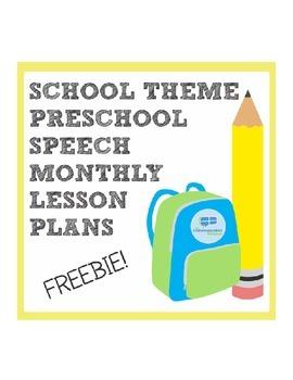 School Theme Preschool Language Monthly Lesson Plan Freebie