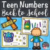 School Theme Teen Number Clip Cards 10 to 20