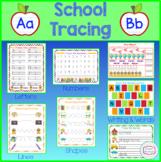 School Theme Tracing, Pre-Writing, Writing Practice