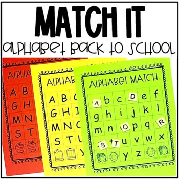 School Themed Alphabet Match for Pre-K and Kindergarten