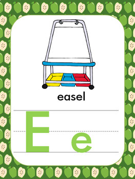 School Themed Alphabet Posters and Flashcards