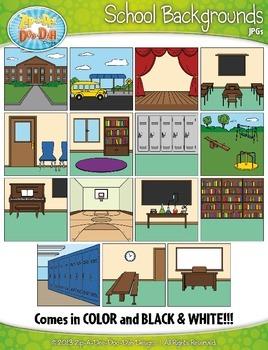 School Background Scenes Clipart {Zip-A-Dee-Doo-Dah Designs}