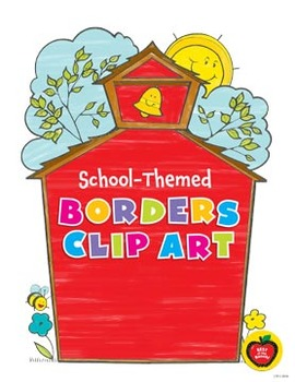 School-Themed Borders Clip Art: 28 Black & White Images for Creative Use