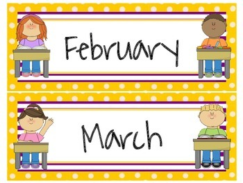 School Themed Calendar Headers