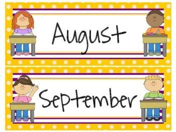 School Themed Calendar Headers