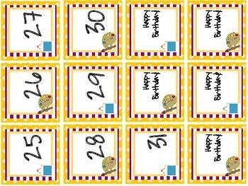 School Themed Calendar Numbers