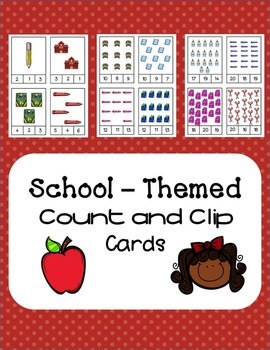 School-Themed Count and Clip Cards