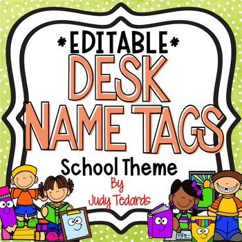 School Themed Desk Name Tags...Editable