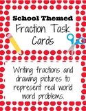 School Themed Fraction Differentiated Worksheets and Task Cards