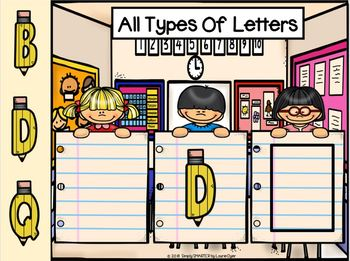 School Themed Letter Identification Activities For GOOGLE CLASSROOM