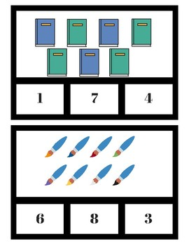 School-Themed Number Clip Cards