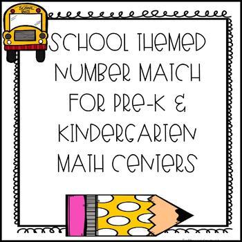 School Themed Number Match for Kindergarten