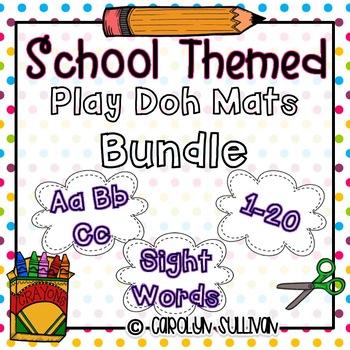 School Themed Play Doh Mats BUNDLE
