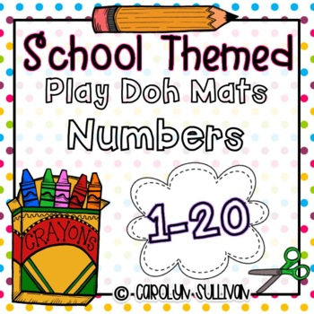 School Themed Play Doh Mats Numbers 1-20