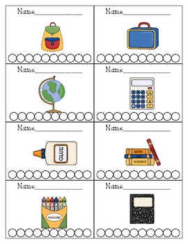 School Themed Punch Cards