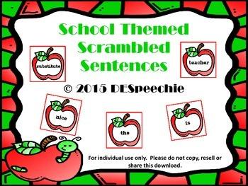 School Themed Scrambled Sentences