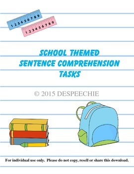 School Themed Sentence Comprehension Tasks