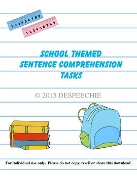 School Themed Sentence Comprehension Tasks