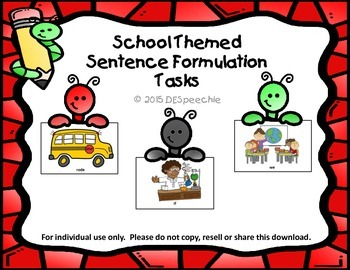 School Themed Sentence Formulation Tasks
