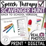 School Themed Teletherapy Digital Scavenger Hunt Interactive PDF