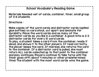 School-Themed Vocabulary Reading Game