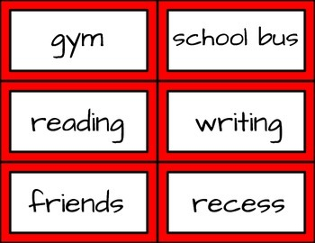 School-Themed Word Cards