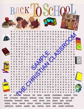 School Themed Word Search Challenging