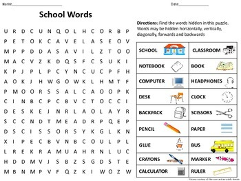 School Themed Word Search with Pictures and Answer Key-Great for ESOL/ELL
