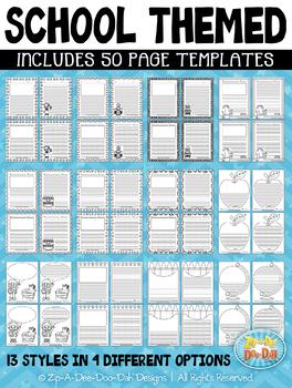 School Themed Writing Paper Worksheet Templates {Zip-A-Dee-Doo-Dah Designs}