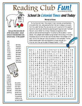 Bundle: School Then and Now (Colonial vs. Modern) Activity Set and Crossword