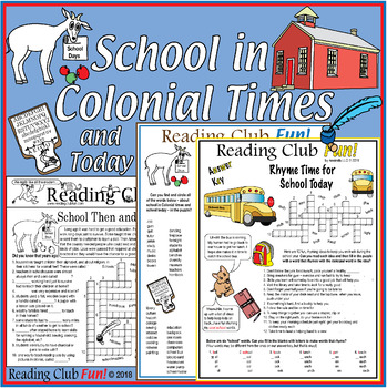 Bundle: School Then and Now (Colonial vs. Modern) Activity