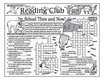 School Then and Now (Colonial vs. Modern) Two-Page Activity Set