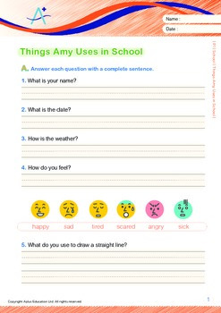 School - Things Amy Uses in School (with 'Triple-Track Writing Lines')