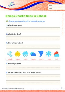 School - Things Charlie Uses in School (with 'Triple-Track Writing Lines')