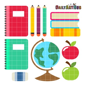 School Things Clip Art - Great for Art Class Projects!