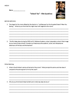 School Ties Movie Questions