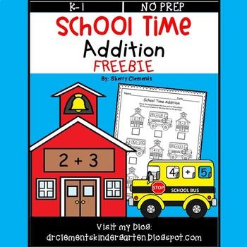 School Time Addition FREEBIE
