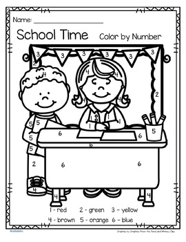School Time Color by Number Printables - 3 pages